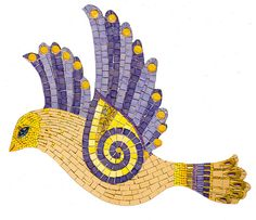 Purple and yellow mosaic bird..love the swirl wing! Flickr: icmosaics' Photostream