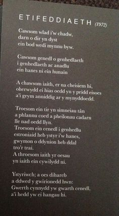 Gerallt Lloyd Owen Learn Welsh, Celtic Words, Welsh Language, Cymru, Daith, Writing Poetry, Writings, Languages, Welsh