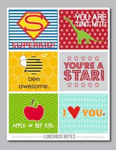 Printable Lunch Box Notes by kikicomin.com on TodaysCreativeBlog.net