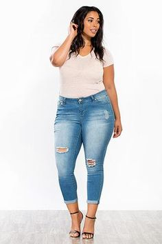Junior Plus Size WannaBettaButt Rolled Anklet Ripped @ LegacyLooks.com 1800-639-6710