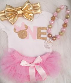 Matching Minnie Mouse Pink & Gold Glitter baby's First Birthday Shirt Onesie and matching Tutu or Ruffle Diaper Cover - Reasonably Priced Baby Boutique