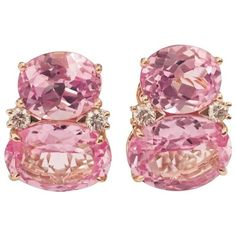 Large Gum Drop™ Earrings With Pink Topaz And Diamonds ($4,900) ❤ liked on Polyvore featuring jewelry, earrings, pink, drop clip earrings, oval earrings, diamond jewelry, pink topaz jewelry and drop earrings