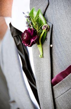 boutonnieres, green, maroon, modern , plum ranun, wax flowers, romantic , elegant, flowers