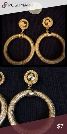 Dangle Hoop Earrings One pair of Vintage costume pierced earrings. I think they are Anne Klein. Large hoop is outside diameter. The small circle is dia. Shiny and excellent condition! Anne Klein, Pierced Earrings, Hoop Earrings, Small Circle, Vintage Costumes, Fashion Tips, Fashion Design, Fashion Trends, Dangles