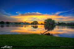Sunset over Palm Beach Gardens at Lake Catherine in Palm Beach County, Florida. HDR image tone mapped and created in Photomatix Pro and Topaz software.