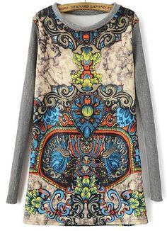 Yellow Long Sleeve Totem Print Knit Dress 19.17