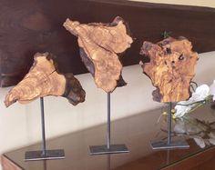 Escultura de madera natural escritorio mesa con base de