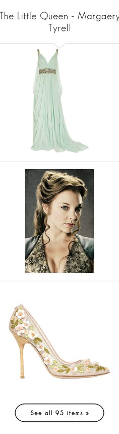 """""""The Little Queen - Margaery Tyrell"""" by chlorisea ❤ liked on Polyvore featuring GameOfThrones, MargaeryTyrell, got, asoiaf, HouseTyrell, dresses, gowns, vestidos, long dresses and mint"""