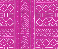 Mudcloth in white on ruby fabric by domesticate on Spoonflower - custom fabric