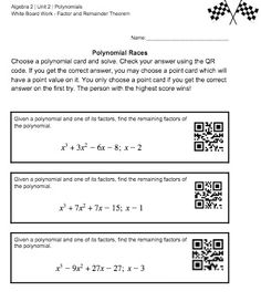 Worksheet Factoring Polynomials Worksheet Algebra 2 worksheets algebra 2 and on pinterest polynomial factor theorem remainder race task cards for polynomials functions in