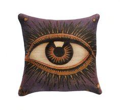 "Eye Pillow Cover, Burlap Decorative Throw Pillow, Purple & Orange, Celestial, Zodiac, Conceptual, 16"" via TheWatsonShop on Etsy"