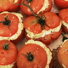 Oven-Roasted #Tomatoes Stuffed with Goat Cheese