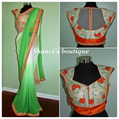 Shaded green n cream georgette saree with trendy embroidered blouse..