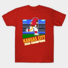 Shop 2020 Champion Kansas City Football kansas city chiefs t-shirts designed by MulletHappens as well as other kansas city chiefs merchandise at TeePublic. Kansas City Football, Pixel Design, Retro Video Games, Super Bowl, Champion, Shirt Designs, Mens Tops, T Shirt, Tee