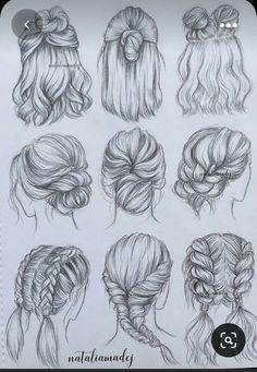 Cool Art Drawings, Art Drawings Sketches, Easy Drawings, Pencil Drawings, Animal Drawings, Hair Reference, Art Reference Poses, Girl Hair Drawing, Drawing Hair Tutorial