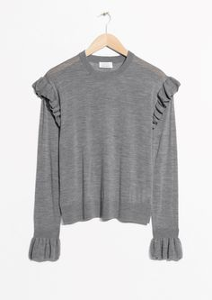 & Other Stories image 1 of Frill Merino Wool Sweater in Grey