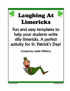 FREE and fun templates for students to complete limericks just in time for St. Patrick's Day!  Includes limerick sheet, limerick templates and writ...