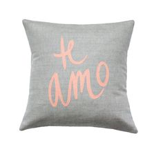 Soft Grey and Coral Te Amo Pillow on Etsy, $61.11 CAD