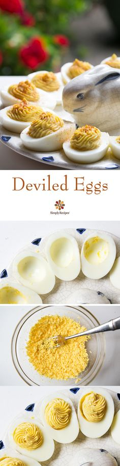 Deviled Eggs ~ Classic deviled eggs, perfect for Easter and summer picnic potlucks! Mashed cooked egg yolks, mixed with mayonnaise and Dijon, spooned or piped into cooked egg white halves. Sprinkled with paprika. ~ SimplyRecipes.com