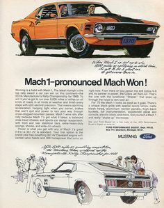 1970 Ford Mustang Mach 1 Advertising Hot Rod Magazine April 1970
