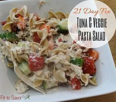 21 Day Fix friendly tuna pasta salad. No mayo! It is sooooo good! 1 red, 1 yellow, 1 green...that's it! Perfect 21 fix friendly lunch recipe!
