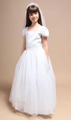 Cap sleeves communion dress for girl - Communion Dresses