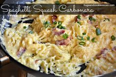 Spaghetti Squash Carbonara - Hugs and Cookies XOXO From one reviewer: Spaghetti Squash Carbonara-I made this tonight. It was delicious. I drained most of the bacon grease and added another 1/4 cup of chicken broth. I also added crushed red pepper.