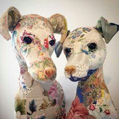 """Sewing Stuffed Animals """"D is for Dog"""" - creations of Bryony Rose Jennings from her Pretty Scruffy collection. Bryony re-purposes vintage textiles, lace and embroideries to create her whimsical stuffed animals. D Is For Dog, Fabric Animals, Animal Heads, Animal Sculptures, Vintage Textiles, Textile Artists, Soft Sculpture, Fabric Art, Dog Art"""