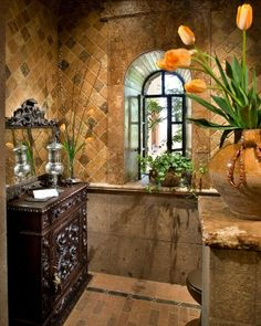 love this bathroom, great till, colors, accesories