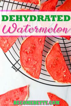 Whether you call this dehydrated watermelon, watermelon jerky, or watermelon candy it is all referring a delicious way to enjoy the flavor of summer by concentrating the flavor. This is a one-ingredient recipe that manages to be sweet with nothing extra added for a healthy snack. | Become Betty @becomebetty #watermelonrecipes #dehydratedfruit #dehydrator #summerrecipes #4thofjulyrecipes #summerfood #partyfood #snacks #healthysancks #kidfriendlyrecipes #becomebetty Dehydrated Watermelon, Watermelon Jerky, Dried Watermelon, Watermelon Recipes, Fruit Recipes, Summer Recipes, Appetizer Recipes, Snack Recipes, Kid Recipes