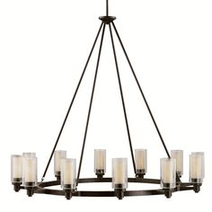 """Circolo Olde Bronze Twelve Light Chandelier Kichler $1,254.= Olde Bronze Finish 41 Inches High 44.5 Inches Wide  (maybe need smaller) 12 - 60 Watt T10 Medium Bulbs Weight: 43 LBS overall 69"""""""