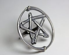 Lily dale pentacle ring sterling silver - $190.00 (via Etsy)