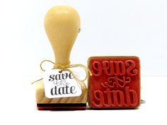 Stempel - Stempel Holzstempel save the date - ein Designerstück von Frau_Zwerg bei DaWanda