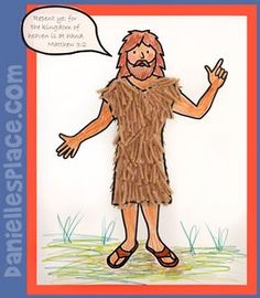 John the Baptist Bible Craft for Kids print, cut tan yarn, have kids glue as hair clothes. Use verse john in text bubble for JSB lesson Sunday School Kids, Sunday School Activities, Church Activities, Bible Activities, Sunday School Lessons, Sunday School Crafts, Bible Story Crafts, Bible Crafts For Kids, Preschool Bible