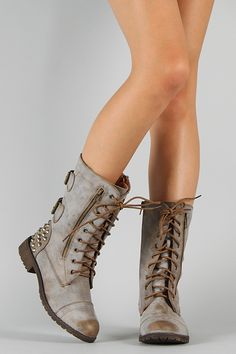 Harley-12 Zipper Lace Up Military Mid Calf Boot