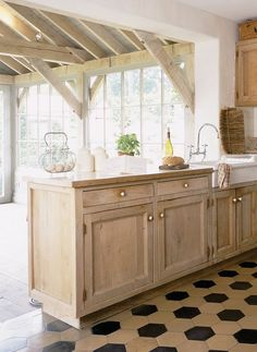 Belgian cottage kitchen, pretty hex tile floor