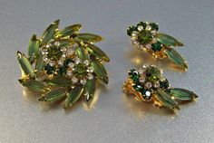 Vintage Juliana Rhinestone Brooch Earrings Set by LynnHislopJewels