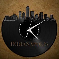 Indianapolis Skyline  Indiana Art Clock Kitchen Decor