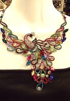 Couture Multi AB Swarovski Crystal Peacock Necklace Set