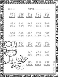 More Fall Themed 3 Digit Subtraction With Regrouping Math Practice Worksheets, Subtraction Worksheets, Teaching Resources, School Worksheets, 3rd Grade Math, Third Grade, Math Sheets, Addition And Subtraction, Elementary Math