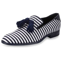 Jimmy Choo Foxley Men's Striped Tassel Loafer (2.118.725 COP) ❤ liked on Polyvore featuring men's fashion, men's shoes, men's loafers, mens blue loafers, mens slip on shoes, mens leather slip on shoes, mens venetian loafers and mens blue shoes