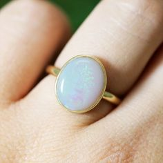 Natural Australian Opal Solid 14K Yellow Gold by StonesandGold $275.00 USD
