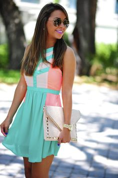 The Devyn Dress: Jade/Neon Coral