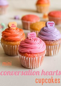 Mini Conversation Heart Cupcakes