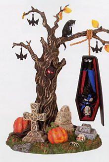 Department 56 - Halloween Village Cemeteries - Rock-a-Bye Vampire - Decoration Halloween Town, Halloween Village Display, Halloween Items, Halloween Party Decor, Halloween Christmas, Vintage Halloween, Halloween Crafts, Halloween Labels, Halloween Quilts
