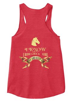 I Know I Ride Like A Girl Eco True Red  Women's Tank Top Back