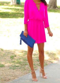 hot pink v-neck summer wedding guest dress 2015
