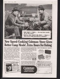 1941-COLEMAN-COOK-STOVE-CAMP-SPORT-OUTDOOR-GAS-FISH-WATER-COFFEE-FOOD-ART-AD-224