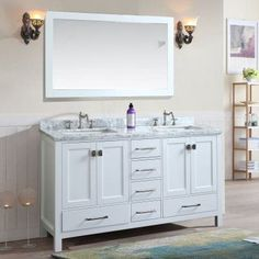 Ari Kitchen and Bath Bella 60 in. Double Bathroom Vanity Set with Mirror - AKB-BELLA-60-WH
