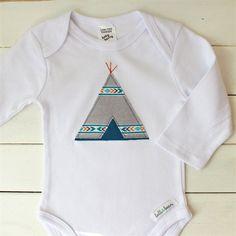 tribal teepee   baby boy onesie   applique   gift   lolli & bean   madeit.com.au